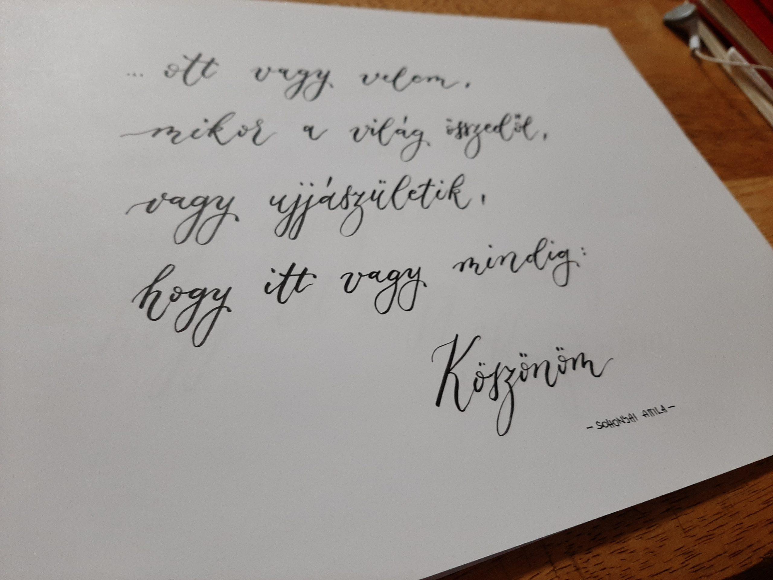 kalligráfia köszönöm