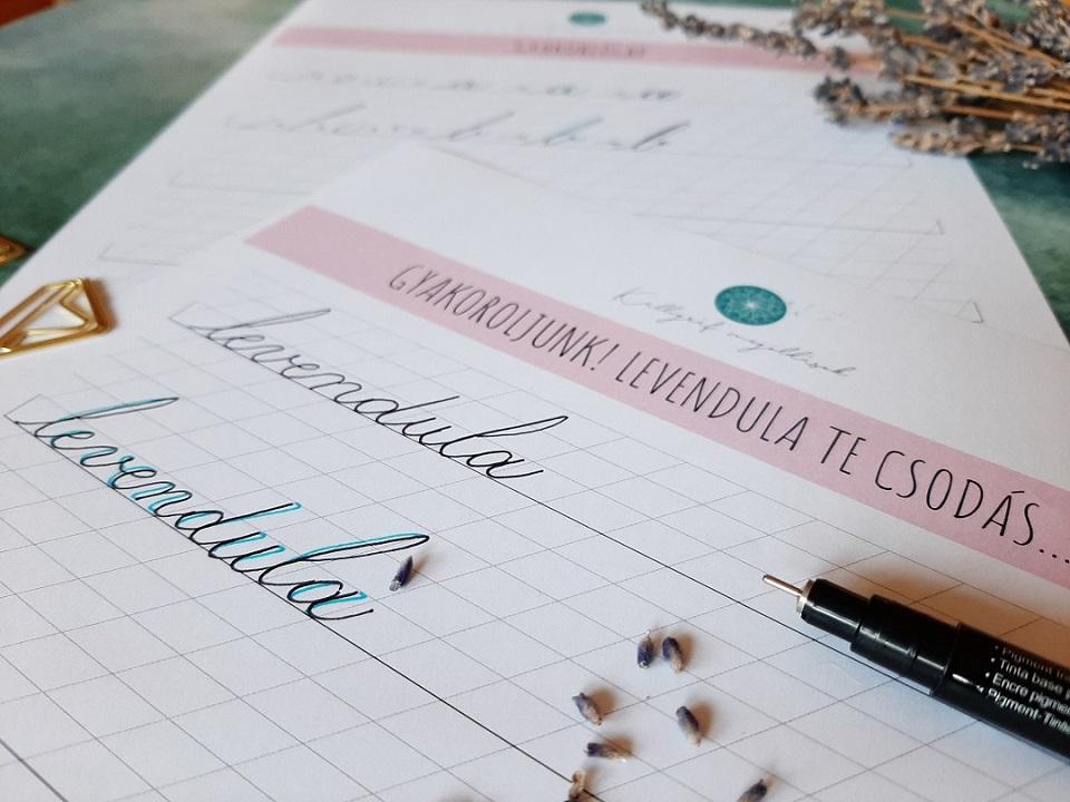 kalligráfia gyakorlólap